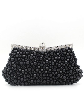 European Style Magnetic Snap Clutches Evening Bag With Pearls