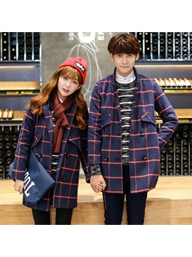 Elegant Plaid Designed Double Breasted Couple Overcoats Price For One Piece