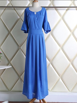 Solid Half Sleeve Round Neck Maxi Dress