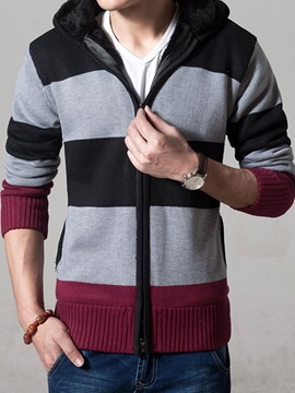 Three Colors Patched Zipper Mens Cardigan Knitwear