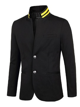 Stripe Stand Collar Two Buttons Mens Blazer