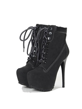 Black Pu Stiletto Heel Lace Up Booties