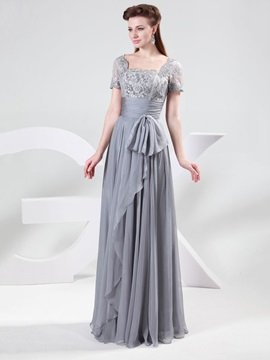 Square Neck Short Sleeve Chiffon Long Mother Of The Bride Dress
