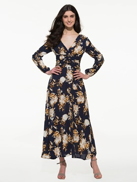 Chic V Neck Empire Waist Print Maxi Dress