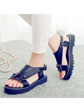 Pu Open Toe Buckles Flat Sandals
