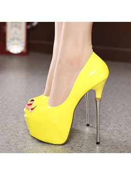 Pu Peep Toe Stiletto Heel Prom Shoes
