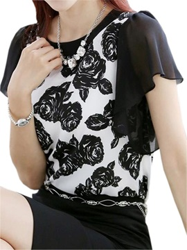 Stylish Floral Printed Chiffon Sleeves Blouse