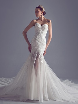 Sexy Beaded Lace Top Sweetheart Lace Up Mermaid Wedding Dress