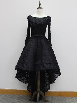 Vintage Long Sleeves Beading Black Lace High Low Evening Dress