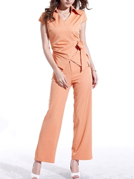 Delicate Lapel Collar Side Tie Top Loose Fit Pant