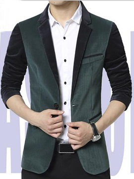 Color Block Notched Collar Corduroy Slim Fit Mens Blazer