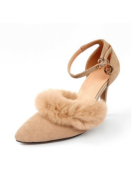 Faux Fur Pointed Toe Ankle Strap Pumps