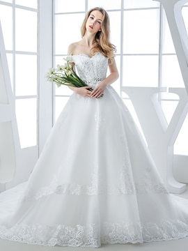 Beaded Lace Appliques Off The Shoulder A Line Wedding Dress With Train