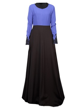 Contrast Color Long Sleeve Maxi Dress