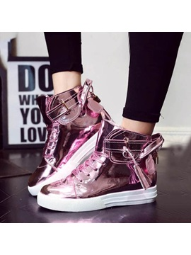 Solid Color Metallic Lace Up Sneakers