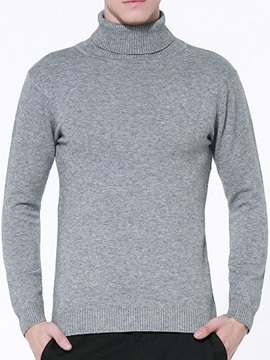 Solid Color High Collar Slim Fit Mens Sweater