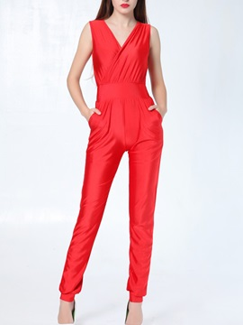 Pure Color V Neck Pleated Jumpsuit