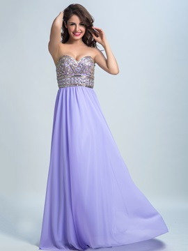 Chiffon A Line Sweetheart Beading Long Prom Dress