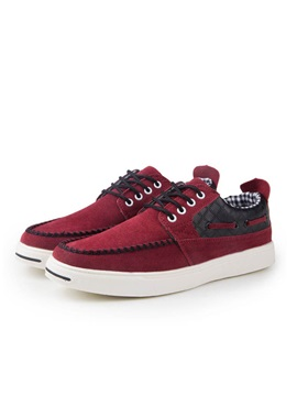 Suede Thread Lace Up Skater Shoes