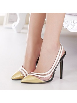 Striped Pointed Toe Stiletto Heel Sandals