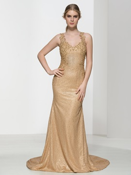 Ladylike Straps Appliques Beading Sequins Evening Dress