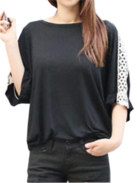 Chic Lace Decoration Half Sleeves T Shirt