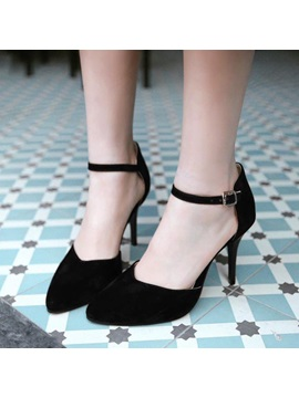Suede Covering Heel Ankle Strap Pumps