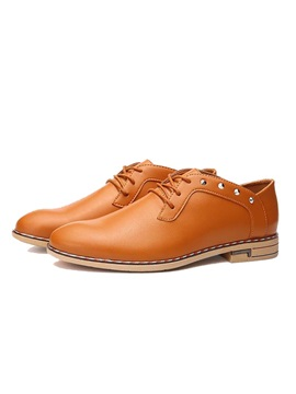 Rivets Round Toe Lace Up Dress Shoes