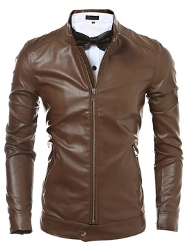 Peaked Lapel Solid Color Mens Pu Biker Jacket