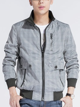 Stand Collar Zip Decorated Plaid Mens Jacket