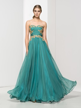 Tidebuy Sweetheart Pleats Appliques Long Evening Dress