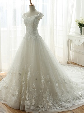 A Line Off The Shoulder Floral Lace Wedding Dress Chapel Train