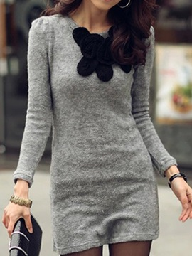 Contrast Color Long Sleeve Day Dress