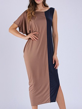 Asymmetric Patchwork Slim Day Dress