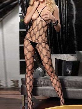 Geometric Pattern Fishnet Sheer Open Crotch Body Stocking Lingerie