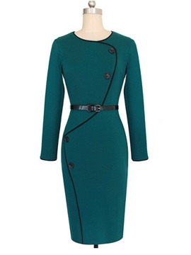 Contrast Color Long Sleeve Round Neck Bodycon Dress