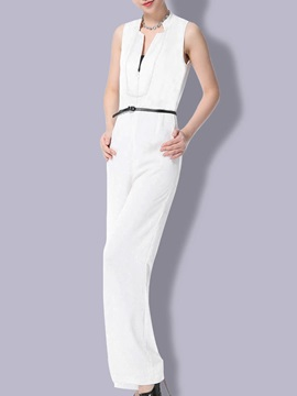Elegant V Neck Straight Leg Jumpsuit