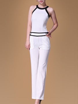 Stylish Round Neck Contrast Trim Jumpsuit