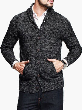 Solid Color Single Breasted Pockets Mens Knit Wear