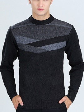 Chest Block Crew Neck Slim Fit Mens Pullover Sweater