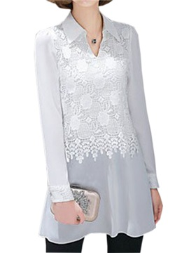 Chic Lace Decoration Slim Work Blouse