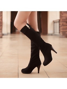 Solid Color Suede Fold Over Knee High Boots