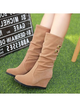 Suede Slip On Womens Wedge Boots