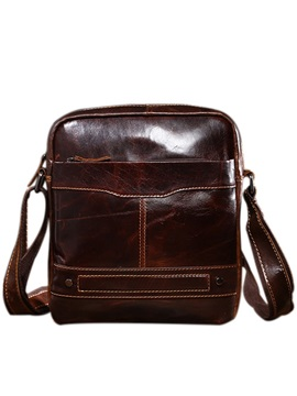 String Genuine Leather Man Shoulder Bag