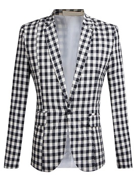 Plaid One Button Notched Collar Mens Blazer
