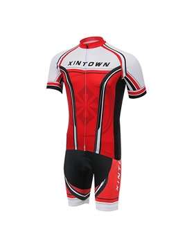 Red Short Sleeve Mens Cycle Jersey And Bib Shorts