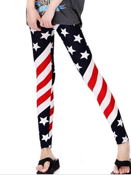 Slimming Stripe And Five Pointed Star Printing Leggings