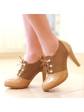 Pu Patchwork Lace Up Round Toe Ankle Boots
