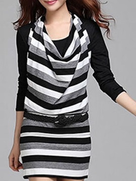 Stripe Long Sleeve Round Neck Bodycon Dress