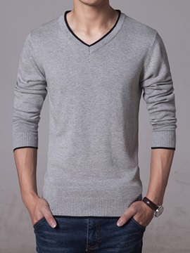 Solid Color V Neck Mens Cotton Blend Sweater